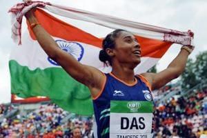 Hima Das celebrates her victory in women