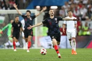 Croatia players celebrates after the FIFA World Cup semi-final match vs. England at the Luzhniki Stadium, Moscow, Russia on July 11, 2018.