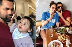 Abhay Deol with his niece Radhya and cousin Esha Deol in US.
