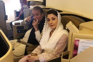 Ousted Pakistani Prime Minister Nawaz Sharif and his daughter Maryam on the Lahore-bound flight at Abu Dhabi International Airport, UAE. on July 13, 2018. The duo were arrested on the flight in Lahore and taken to jail under tight security.