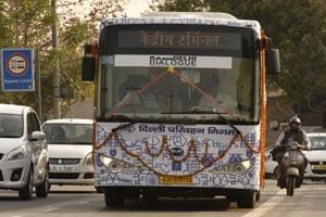 A DTC Electric Bus after it is flagged off at Delhi Secretariat.