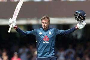 Joe Root celebrates after reaching his century during the ODI between England and India at Lord