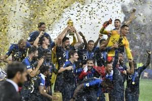 France players celebrate after winning the FIFAWorldCup final 4-2 against Croatia at the Luzhniki Stadium in Moscow onSunday.