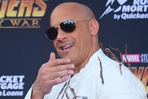 Actor Vin Diesel arrives or the World Premiere of the film Avengers: Infinity War in Hollywood.