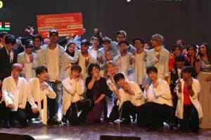 First Lady of South Korea Kim Jung-sook with K-pop group Snuper and contestants of 2018 Changwon K-Pop World Festival in New Delhi on July 9.
