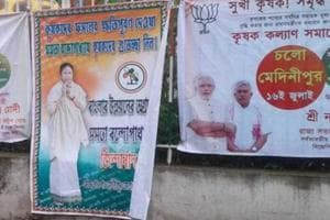 Posters of the Trinamool Congress and BJPhave erupted all over Midnapore ahead of the Prime Minister's rally on Monday.