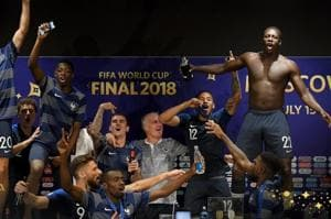 France players interrupt coach Didier Deschamps' press conference after the FIFA World Cup 2018.