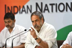 Congress leader Anand Sharma during a press conference at AICC in New Delhi on July 15.