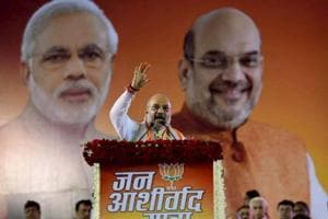 BJP National President Amit Shah addresses during