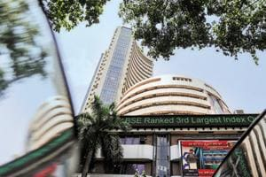 The Bombay Stock Exchange (BSE) building is pictured next to a police van in Mumbai.