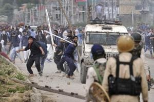 Kashmiri protesters clashed with police on the outskirts of Srinagar after forces killed four militants, including Islamic State of Jammu and Kashmir (ISJK) chief Dawood Salafi during an encounter at Nowshera village in South Kashmir on Friday, June 22, 2018.