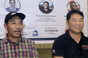 Kami Rita Sherpa (left) and Mingma Sherpa at a press meet of Giripremi in Pune on Monday.