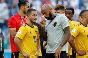 Belgium assistant coach Thierry Henry during a FIFA World Cup 2018 match.