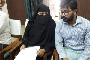 Nida Khan and her brother met district magistrate Pinki Jowel.