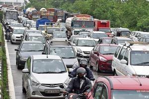 Traffic jam on Sion-Panvel highway near CBD Belapur in Navi Mumbai on Tuesday.