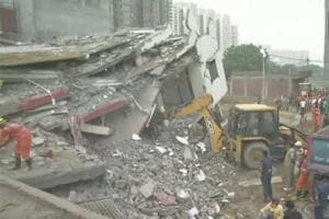 The incident occurred around 10pm in Shahberi village of Bisrakh when a five-storey building collapsed on an adjacent under-construction building, officials said.