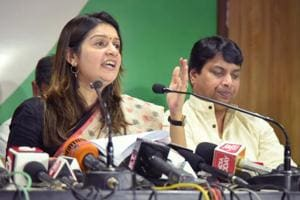 Priyanka Chaturvedi interacts with media persons at party office in Jaipur on Wednesday.