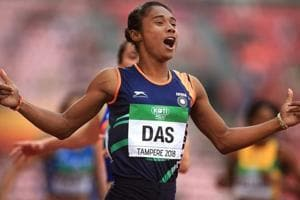 Hima Das celebrates after winning gold in the final of the women