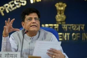 Piyush Goyal briefs the media after a cabinet meeting, in New Delhi on Wednesday, June 27, 2018.