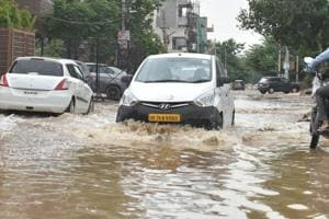 Water logging in Sector 45, Gurugram, after rain on July 13.