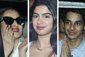 Rekha, Khushi Kapoor and Ishaan Khatter arrive at the special screening of Dhadak.