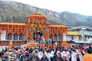 Locals celebrate the opening of the Badrinath portals.