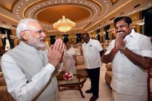 Prime Minister Narendra Modi exchanges greetings with Tamil Nadu Chief Minister Edappadi K Palaniswami during 4th Governing Council meeting of NITI Aayog, in New Delhi in June.