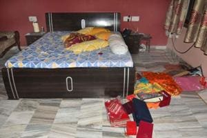 Household items scattered by dacoits in the house in Jaipur on Thursday.