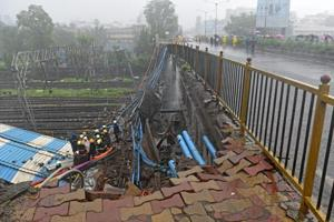 The Gokhale foot overbridge that collapsed after heavy rain in Andheri earlier in July.