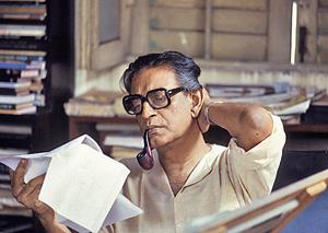 Satyajit Ray at home in Calcutta on 10 April, 1982.