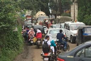 Traffic in the Undri area was jammed with students unable to reach school easily.
