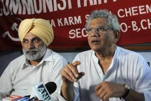 Communist Party of India (Marxist) general secretary Sitaram Yechury during a press conference at Communist Bhawan in Chandigarh, on Thursday.