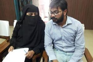 Nida Khan and her brother met district magistrate Pinki Jowel.