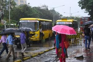 Private buses were seen dropping people to work at Bandra-Kurla Complex on Friday morning.
