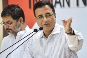 Congress spokesperson Randeep Singh Surjewala during a press conference at the party office, in New Delhi.
