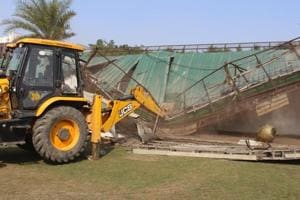 The anti-encroachment drive is being carried out following orders of the Uttarakhand high court.
