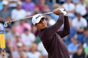 Shubhankar Sharma of India hits a shot during round one of the 147th Open golf Championship at Carnoustie.