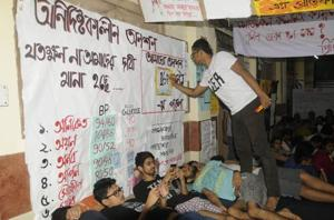 MBBSstudents of Calcutta Medical College and Hospital are fasting for the 11th day demanding hostel facilities. A section of the house staffs, interns and even senior doctors have expressed solidarity with the agitating students.