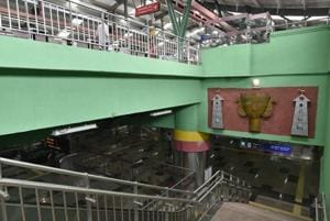 A view of newly constructed Moti Bagh metro station on Pink Line of Delhi Metro in New Delhi on Wednesday, July 18, 2018.