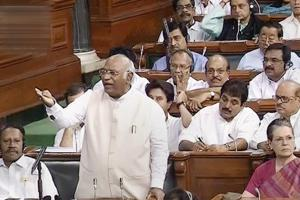 Congress parliamentary party leader Mallikarjun Kharge speaks in the Lok Sabha on no-confidence motion during the Monsoon session of Parliament on Friday.