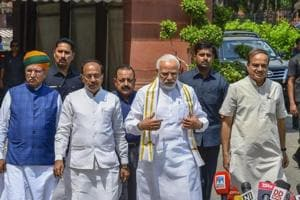 Prime Minister Narendra Modi arrives to address mediapersons ahead of the monsoon session of Parliament in New Delhi on Wednesday.