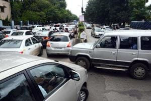 With no other option for commuting, most residents used their personal vehicles to travel, leading to severe traffic jams in many places, including railway station road, on Friday.