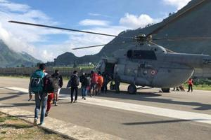 The 8th batch of pilgrims is stranded at Naini-Saini airstrip (above) as copters are unable to fly for the past one week.