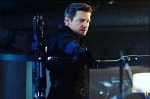 Jeremy Renner in a still from Captain America: Civil War.