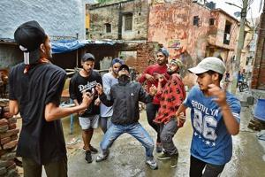 Sandeep Panchal (above, second from right) of Quake dance crew performs with other hip-hop artistes in Burari.