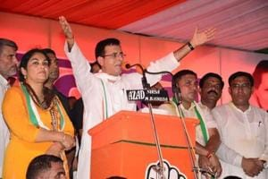Senior Congress leader Randeep Surjewala addressing the 'Badlav Rally' at Narwana in Jind district on Saturday.