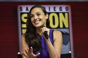 Gal Gadot participates in the Warner Bros. Theatrical Panel for Wonder Woman 1984 during Comic Con in San Diego.