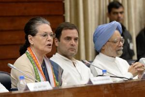 UPA chairperson Sonia Gandhi speaks as Congress president Rahul Gandhi and former PM Manmohan Singh look on at the Congress Working Committee meeting in New Delhi on Sunday.