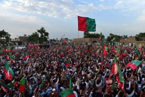 Supporters  attend a  Pakistan Tehreek-i-Insaf campaign rally in the Khyber Pakhtunkhwa province.
