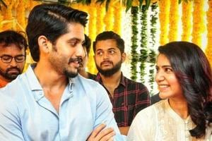 Naga Chaitanya and Samantha Akkineni cannot stop smiling at each other during the pooja ceremony of their upcoming film.
